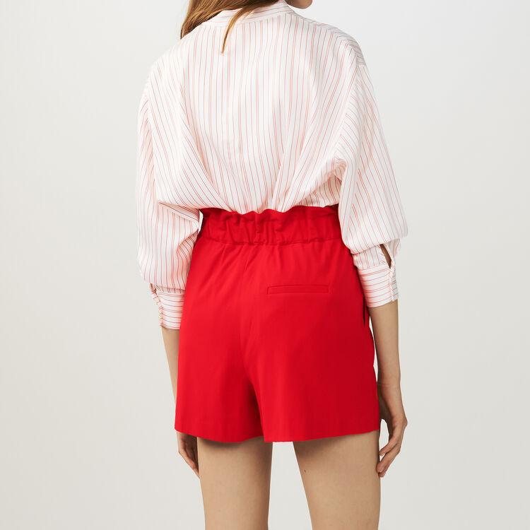 Short de crespón cinturón : Faldas y shorts color Rojo