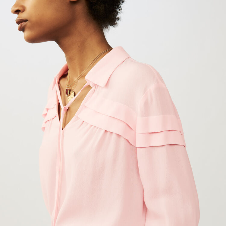 Blusa de crepé con volantes : Tops color LILA