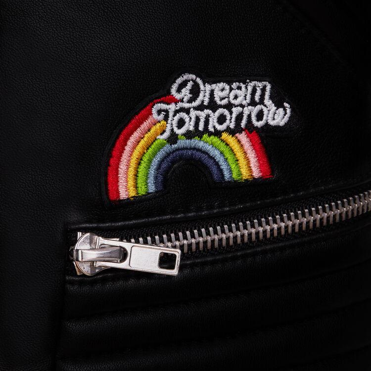 Cazadora de cuero con bordados : Cazadoras color Negro