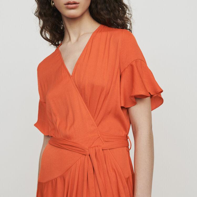 Vestido largo con volantes : Vestidos color Coral
