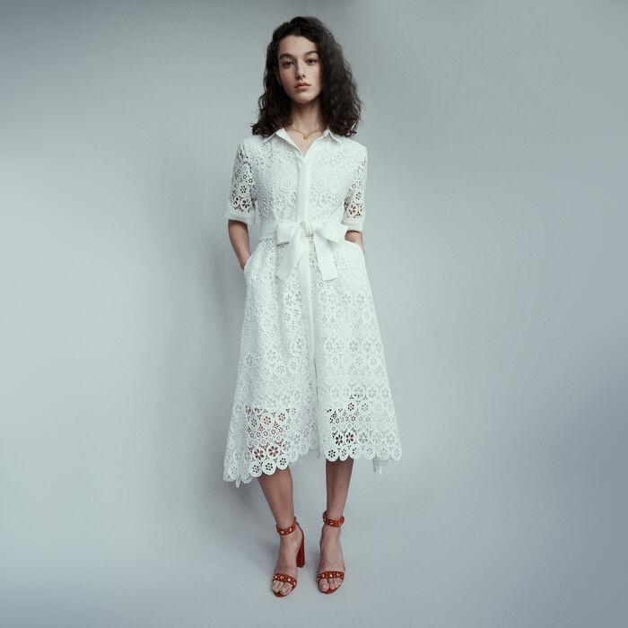 Vestido midi de guipur margaritas : Vestidos color Blanco