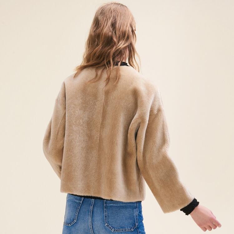 Cazadora reversible de piel vuelta : Remises color Beige
