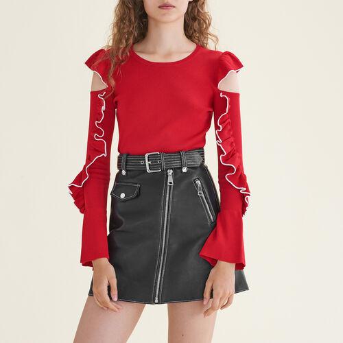 Jersey de punto con hombros descubiertos : Jerseys y cárdigans color Rojo