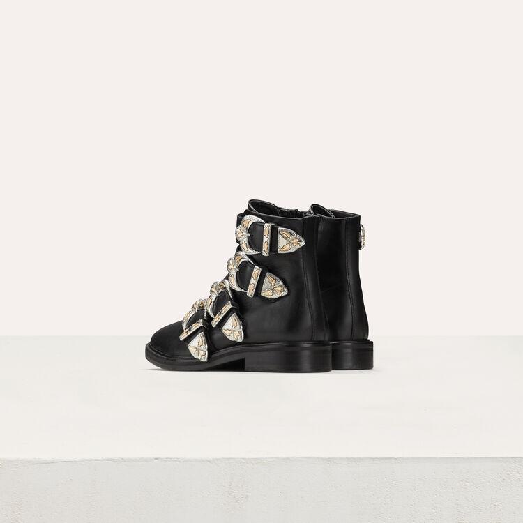 Botines de cuero con multi-correas : Botínes color Negro