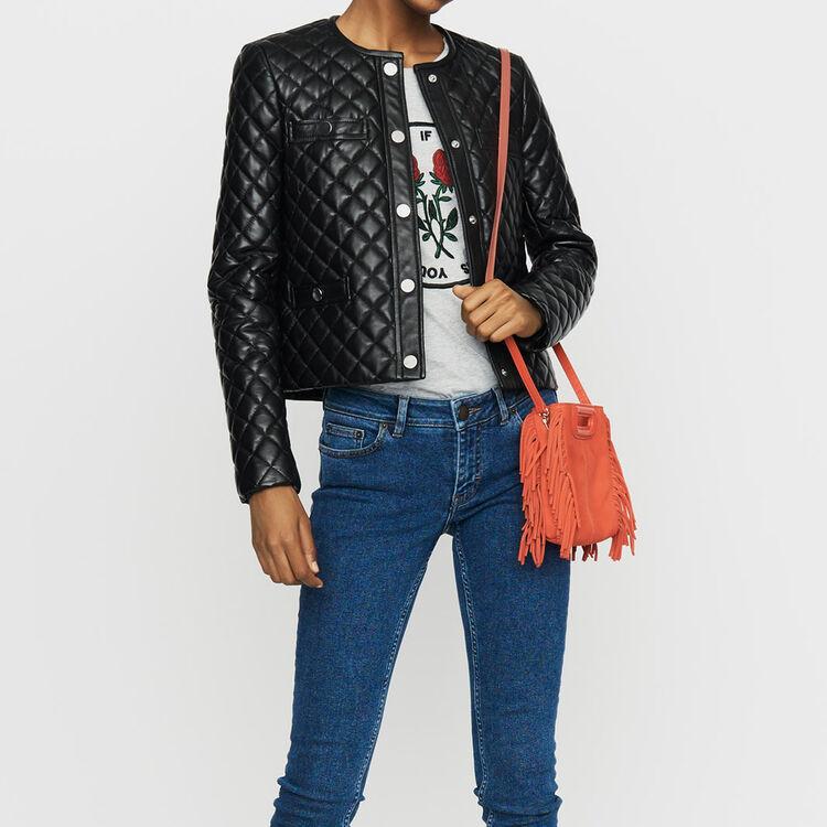 Cazadora de cuero acolchado : Prêt-à-porter color NEGRO