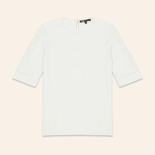 Camiseta con galones de encaje : T-shirts color Crudo