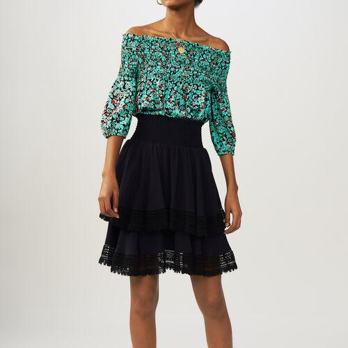 Flounced skirt with lace : Faldas y shorts color Azul Marino