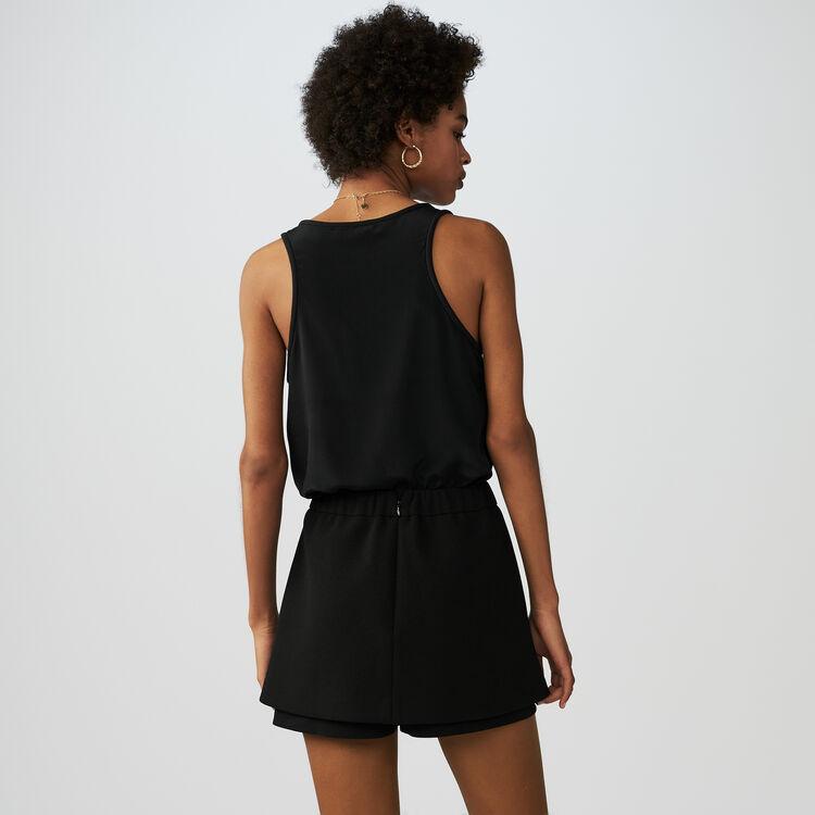 Short-falda de crepé con abejas : Faldas y shorts color Negro