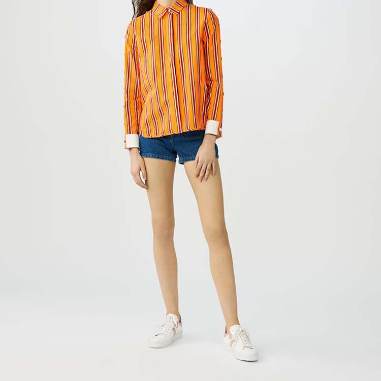 Camisa de algodón a rayas con presiones : Camisas color Naranja
