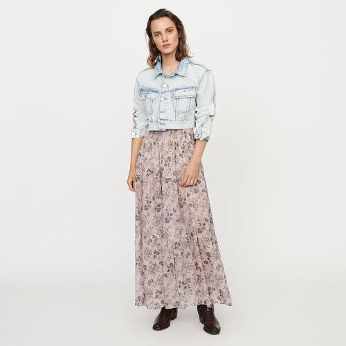 Falda larga a flores en velo de algodón : Faldas y shorts color LILA