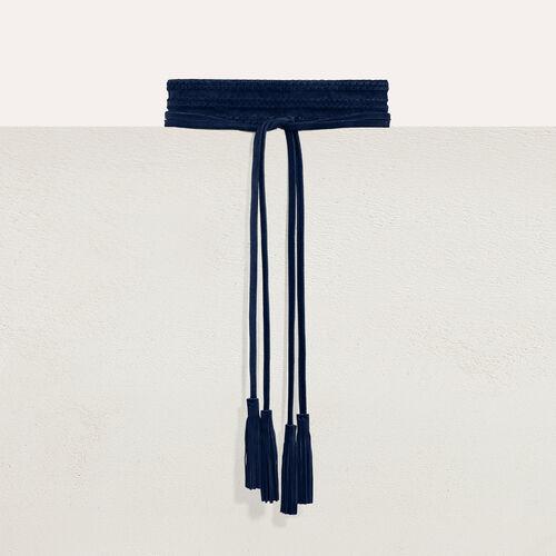 Anchos cinturón de ante : Cinturones color Azul Marino