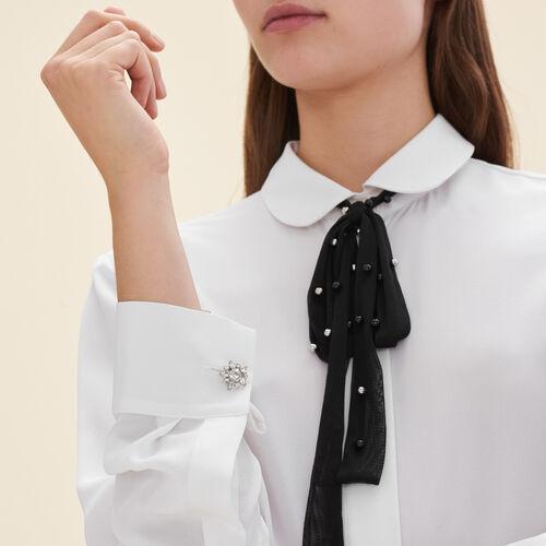 Camisa de seda con corbata de tul : Tops color Blanco