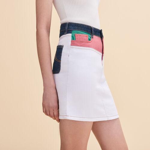 Falda corta de denim multicolor : Faldas y shorts color Multicolor