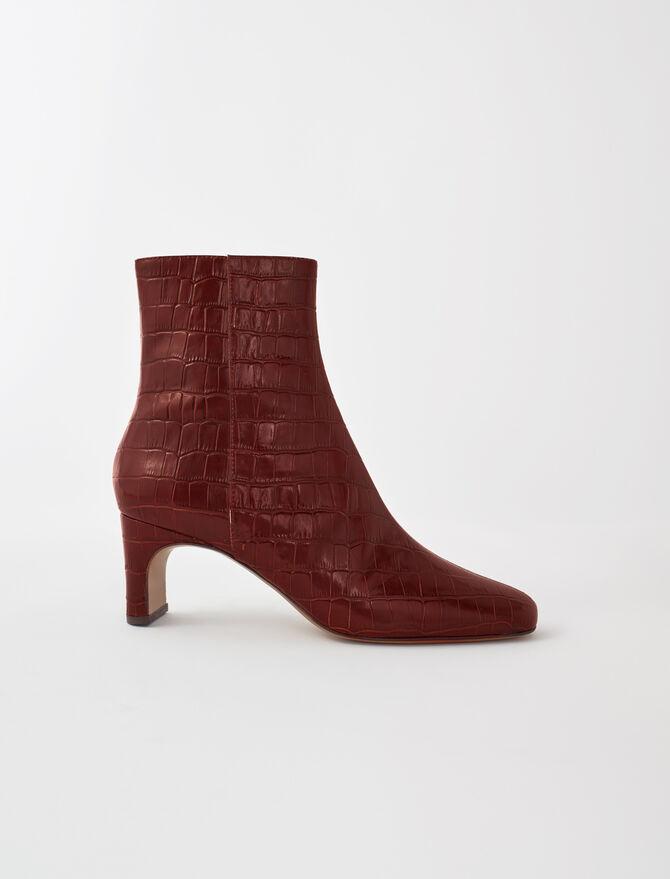 Botines de piel de cocodrilo estampada - Todos los zapatos - MAJE