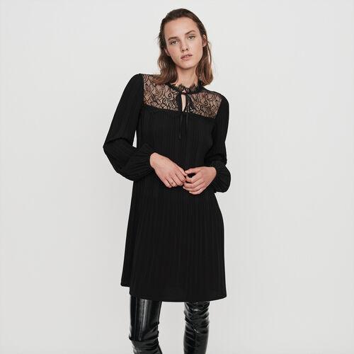 Vestido plisado y encaje : Colección invierno color Negro