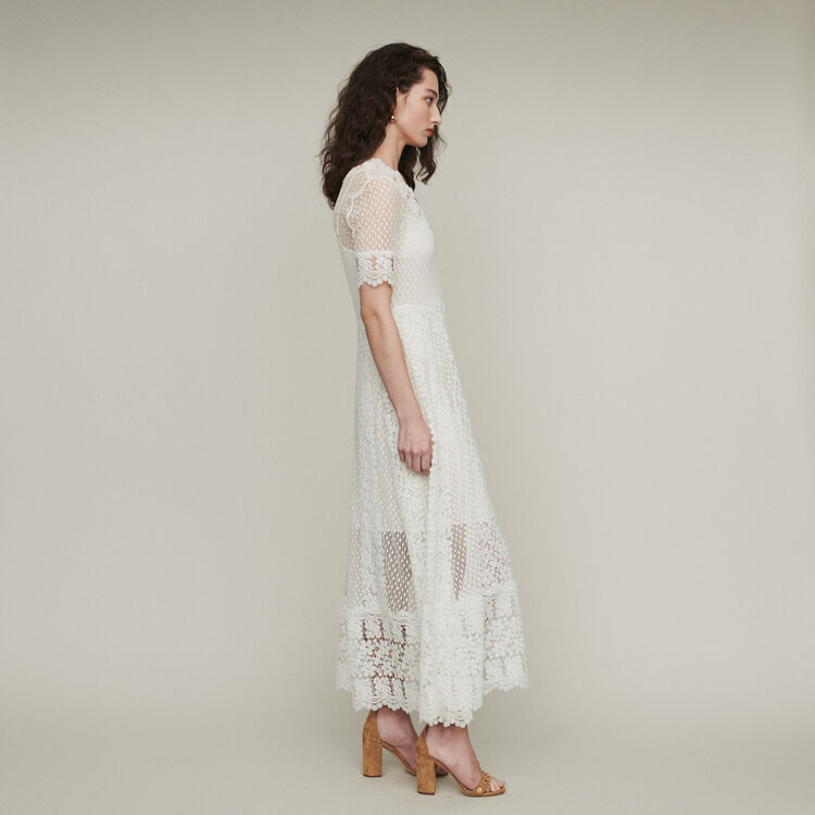 Vestido largo en plumetis y encaje : Vestidos color Blanco
