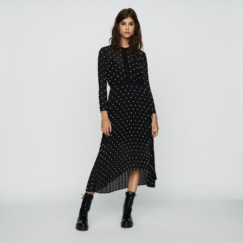 Vestido largo plisado con bordados : Vestidos color Negro
