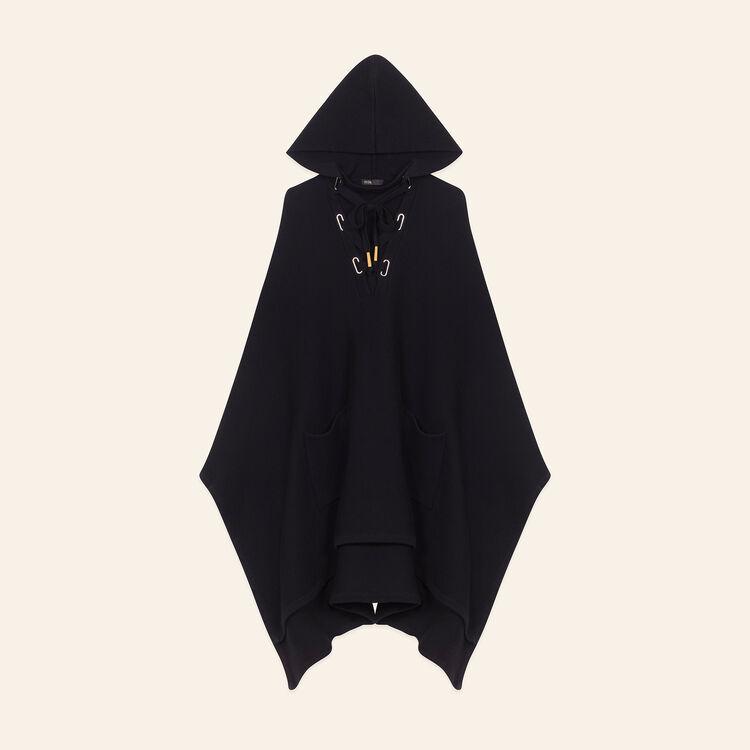 Cape-Poncho aus grob geripptem Strick : Jerseys y cárdigans color Negro
