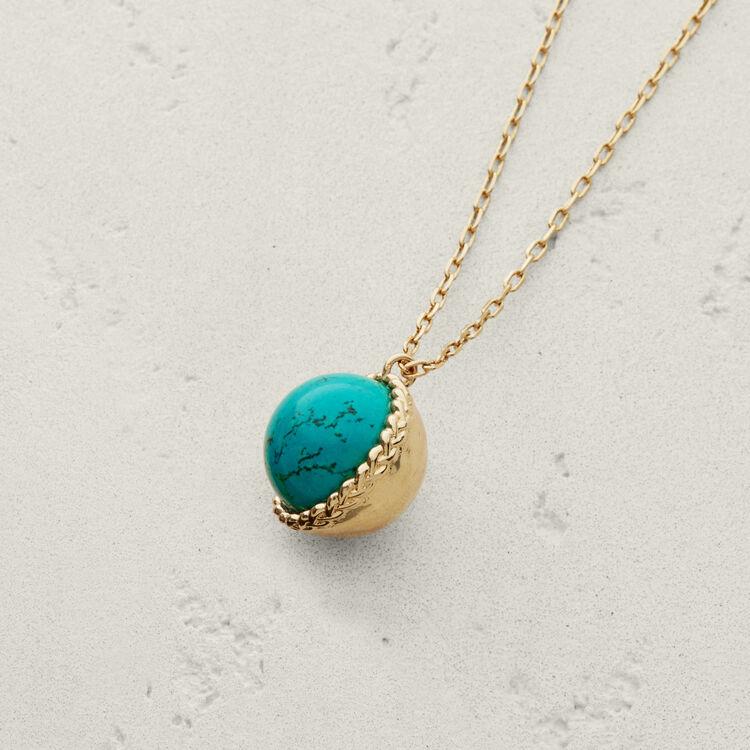 Collar con bola en piedra natural : Bisuteria color BLEU AZUR