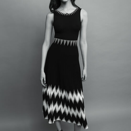 Vestido largo asimétrico estampado : Vestidos color Negro