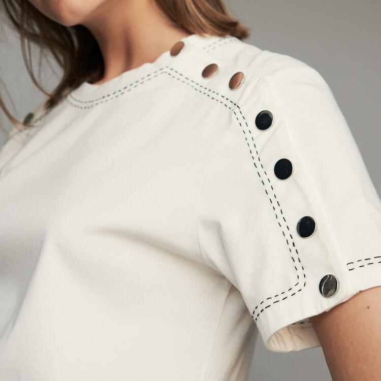 Camiseta de algodón con presiones : T-Shirts color Blanco
