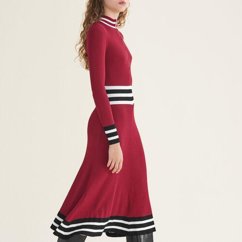 Vestido largo de punto de canalé : Vestidos color Burdeos