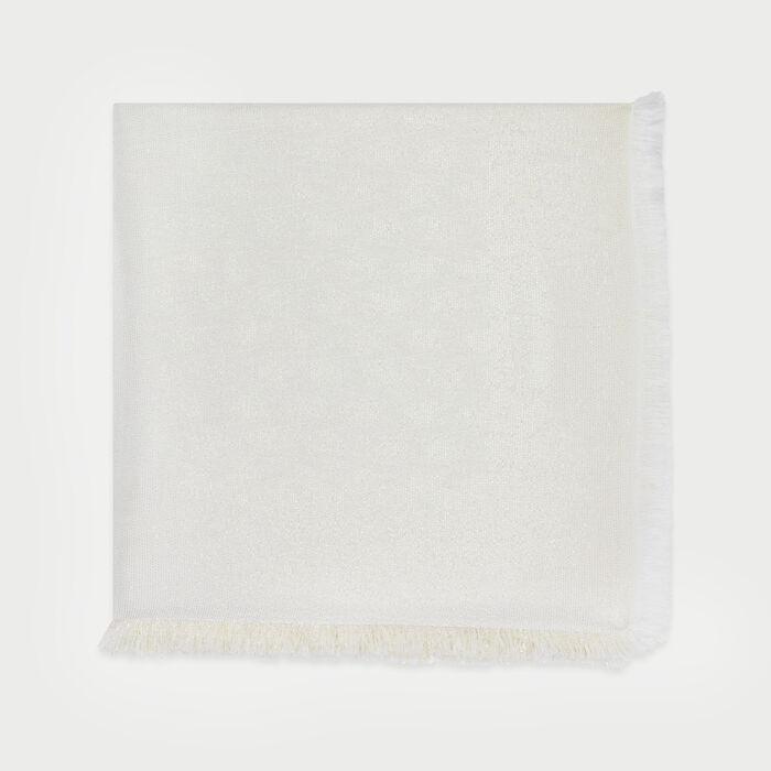Chal con motivo M en lurex : Pañuelos & Ponchos color Blanco Roto