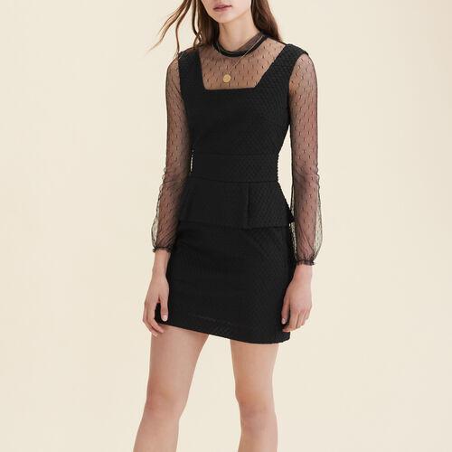Vestido trapecio de crepé con volantes : Vestidos color Negro