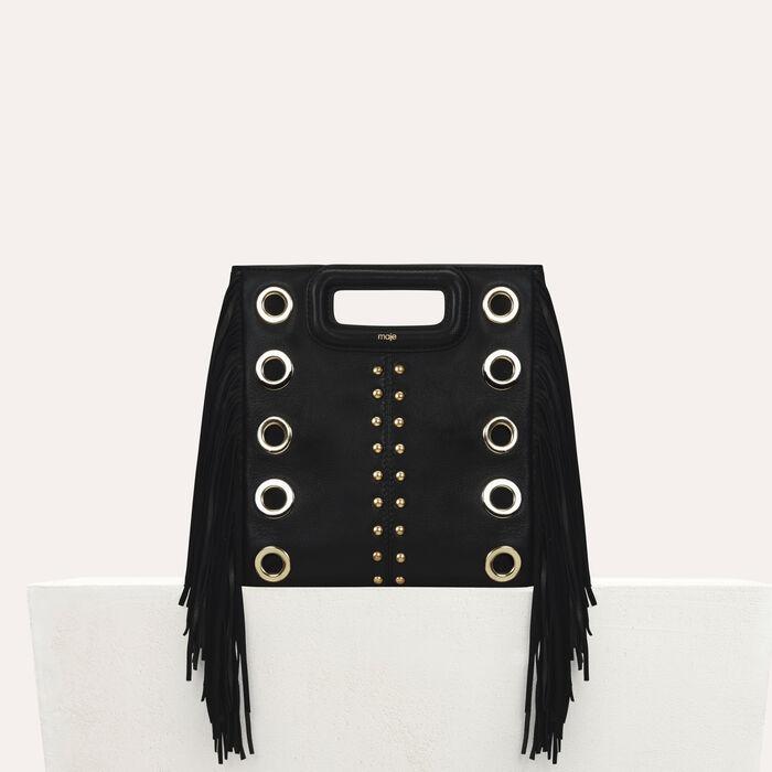 Bolso M de cuero con tachuelas y aretes : Nueva Colección color Negro