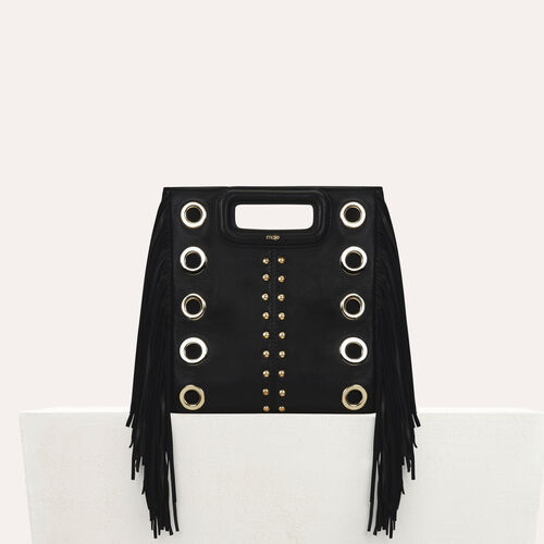 Bolso M de cuero con tachuelas y aretes : Office girl color Negro