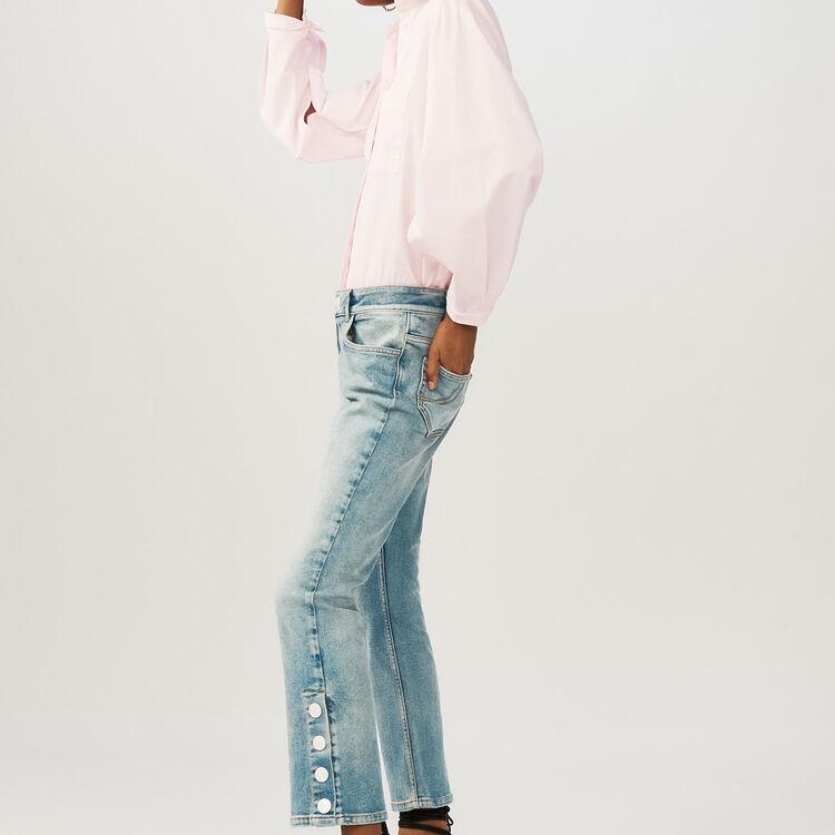 Vaquero de denim desgastado 7/8 : Jeans color Denim