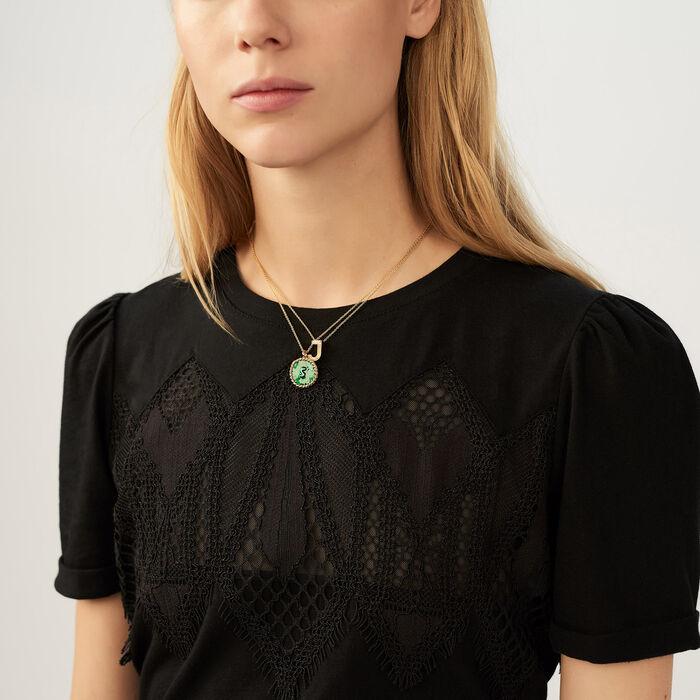Camiseta con encaje : T-Shirts color Negro