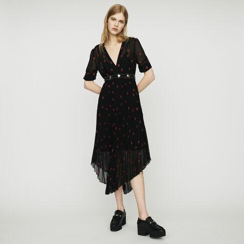 Vestido plisado con bordados corazón : Vestidos color Negro