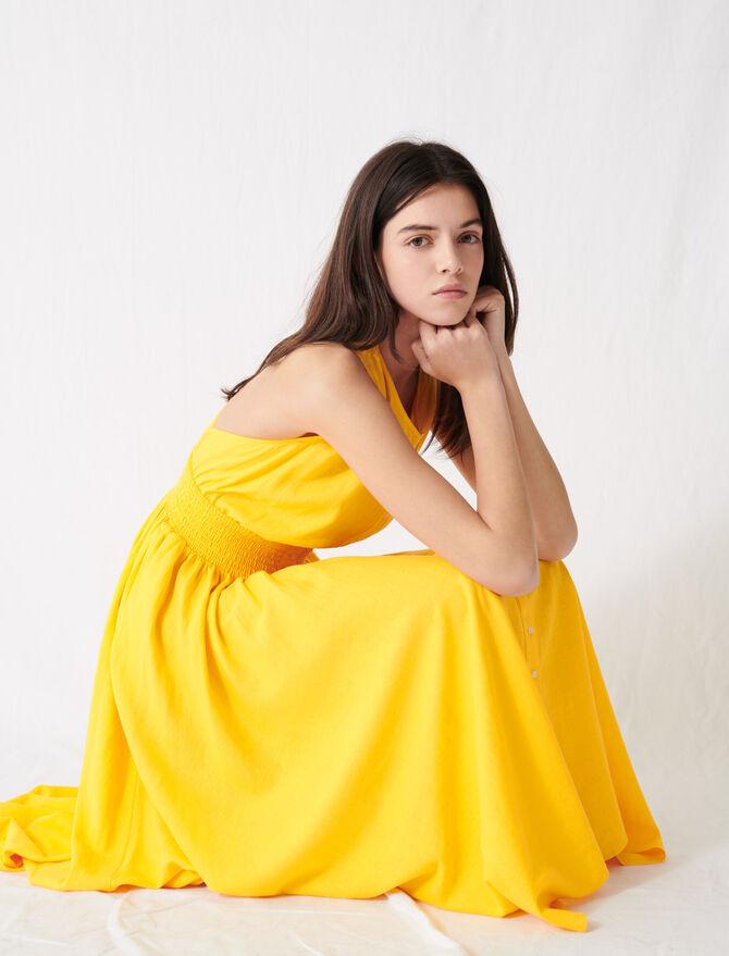 Vestido smock de lino amarillo intenso - Vestidos - MAJE