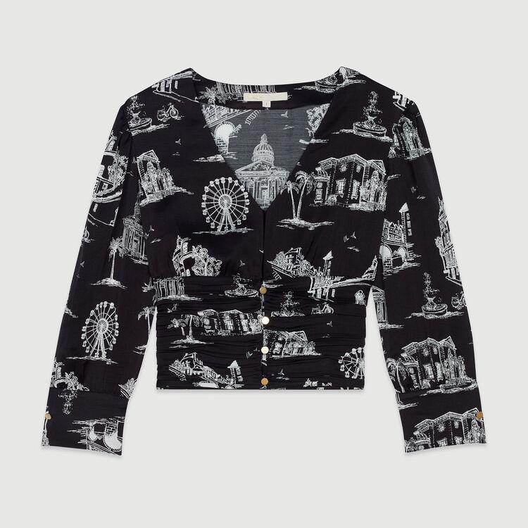 Top corto estampado Paris : Tops y Camisas color Negro
