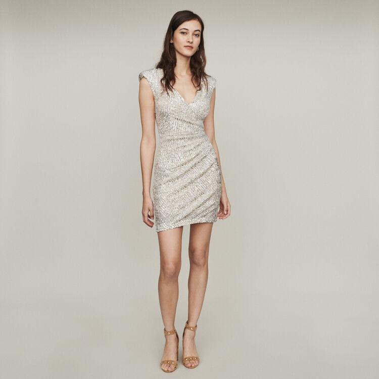 Vestido sin mangas drapeado : Vestidos color Plateado