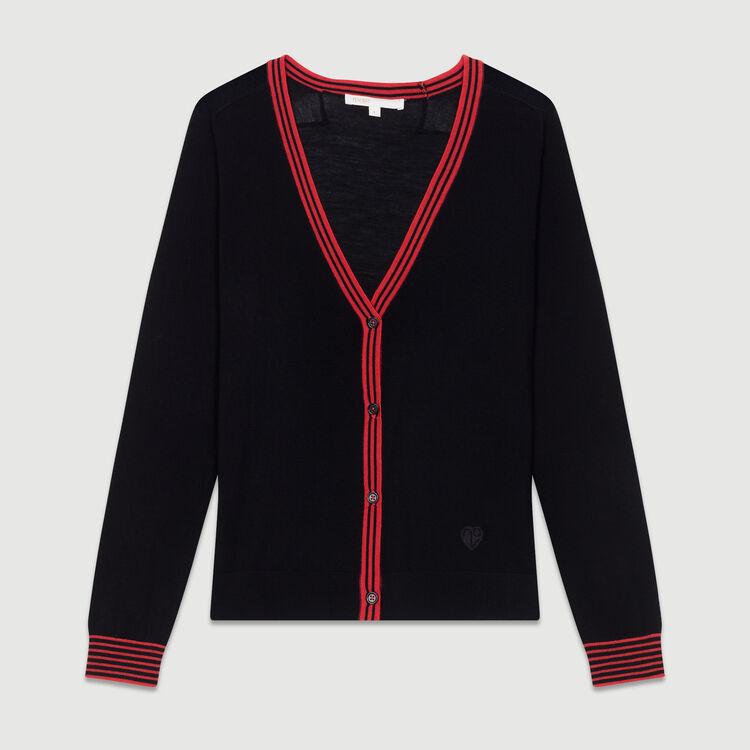 Cardigan fino de lana de merinos : Nueva Colección color Negro