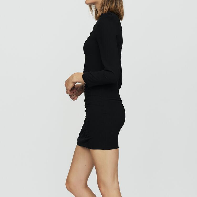 Vestido con mangas largas y joya : Vestidos color Negro