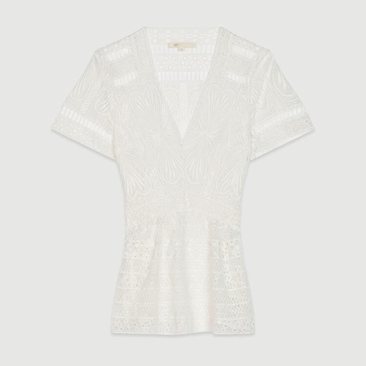 Top con pliegues en guipur : Tops y Camisas color Blanco Roto