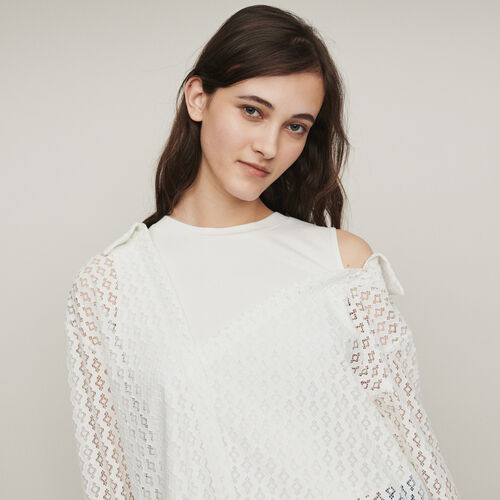 """Blusa """"trompe-l'œil"""" guipur geométrico : Tops color Blanco"""