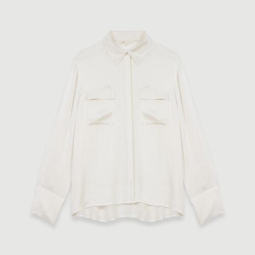 Silk satin shirt : Campaña FW19 color Blanco