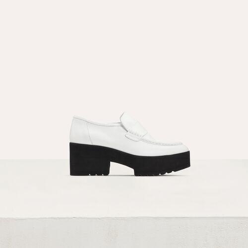 Mocasines de cuero efecto croco : Zapatos planos color Blanco