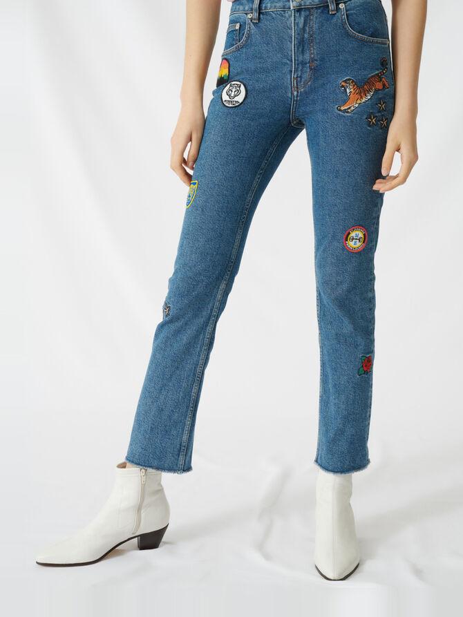 Pantalón vaquero recto con parches - Pantalones y Jeans - MAJE