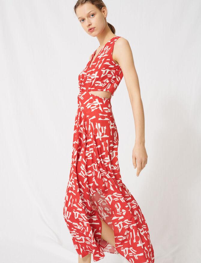 Vestido rojo con aberturas - Vestidos - MAJE