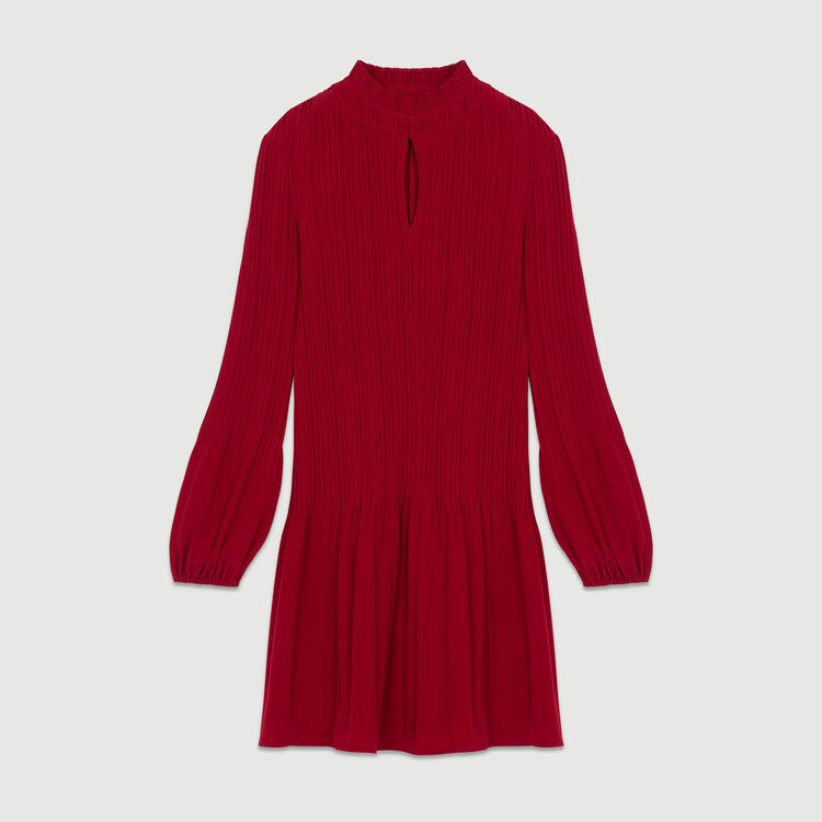 Vestido corto plisado : Prêt-à-porter color Frambuesa