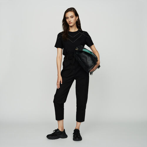 Camiseta loose con tachuelas : SoldesUK-All color Negro