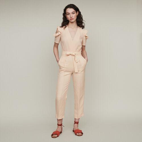 Mono-pantalón bimateria : Pantalones color Mandarina