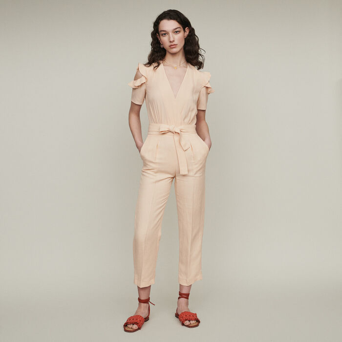 Mono-pantalón bimateria : Pantalones y Jeans color Mandarina