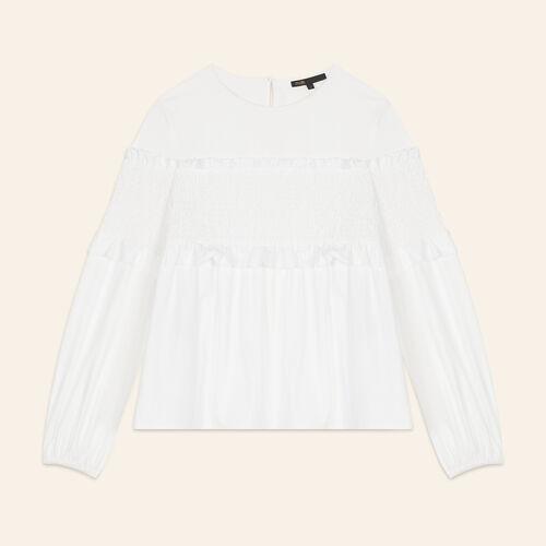 Top con fruncidos : Tops color Blanco