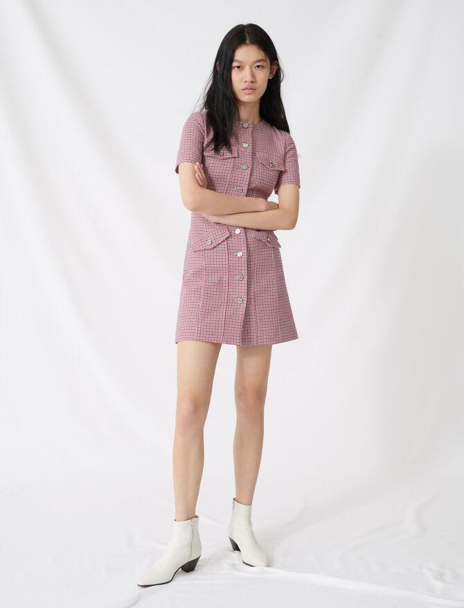 Vestido corto ceñido de cuadros - Vestidos - MAJE